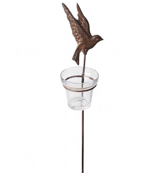 Teelichthalter Gartenstab Vogel Gusseisen Antik-Braun 42cm B