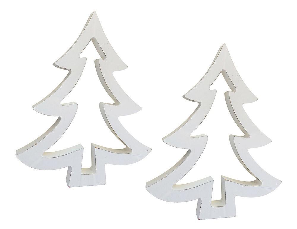 deko weihnachtsbaum set tannenbaum holz wei 2 st ck 19cm weihnachtsdekoration weihnachten. Black Bedroom Furniture Sets. Home Design Ideas