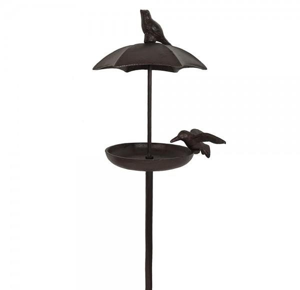 Vogeltränke mit Dach auf Stab Vogelbad Futterschale Wasserschale Gusseisen 112cm