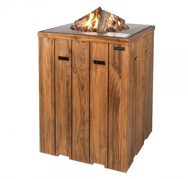 Happy Cocooning Feuertisch Teak-Holz Stehtisch quadratisch grau 760x1000mm