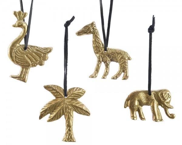 Christbaumfiguren Safari gold 4 Stück Elefant Giraffe Palme Pfau Christbaumsc…
