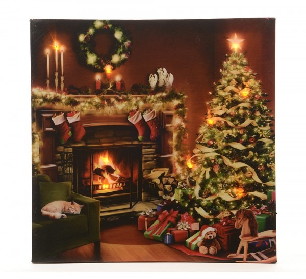 bild heiligabend weihnachtsbaum mit led beleuchtung weihnachten wandbild leinwand wandbilder. Black Bedroom Furniture Sets. Home Design Ideas