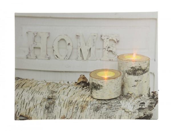 LED Bild Winter Home Kerzen Birke Weiß Mit Beleuchtung Leuchtbild