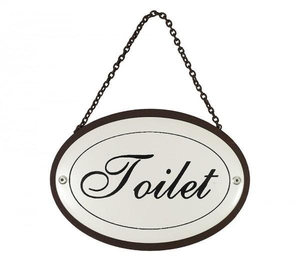 Türschild Toilet Oval an Kette Metall Vintage Weiß Nostalgie Toilettenschild ...