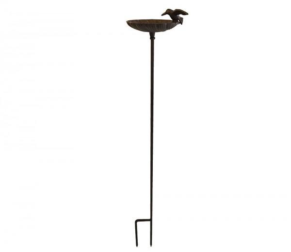 Vogeltränke mit Stab Vogelbad Futterschale Gartenstecker Gusseisen Vintage 100cm