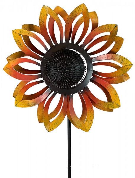 Doppelwindrad Sonnenblume Windrad doppelt Gartenstecker Windspiel Vintage