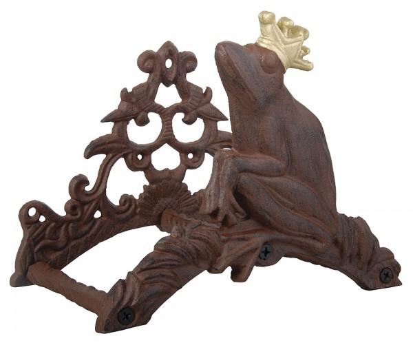 Gartenschlauchhalter Froschkönig Frosch mit Krone Gusseisen Antik-Stil Braun