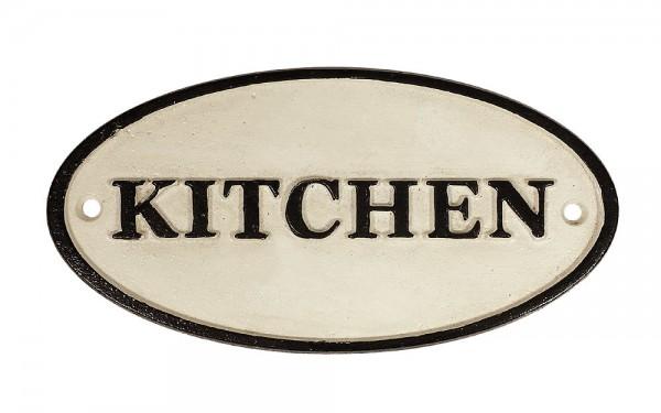 Türschild KITCHEN Gusseisen Oval Dekoschild Plakette Vintage Antik-Stil