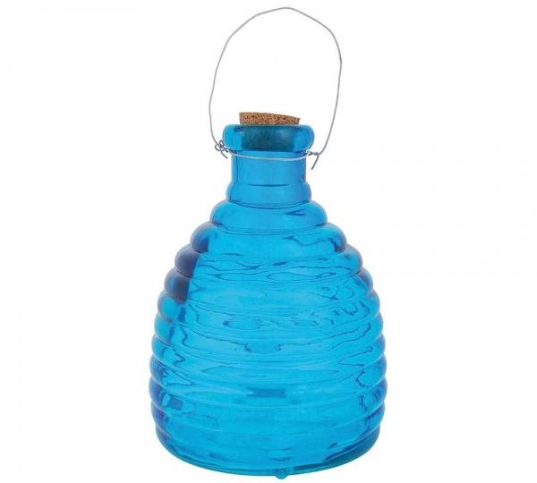 Große Wespenfalle Insektenfalle Glas geriffelt Blau 20cm