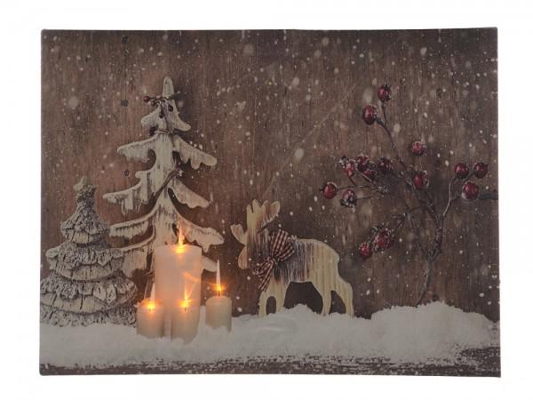 Bild Winter Wald Elch Mit LED Beleuchtung Weihnachten