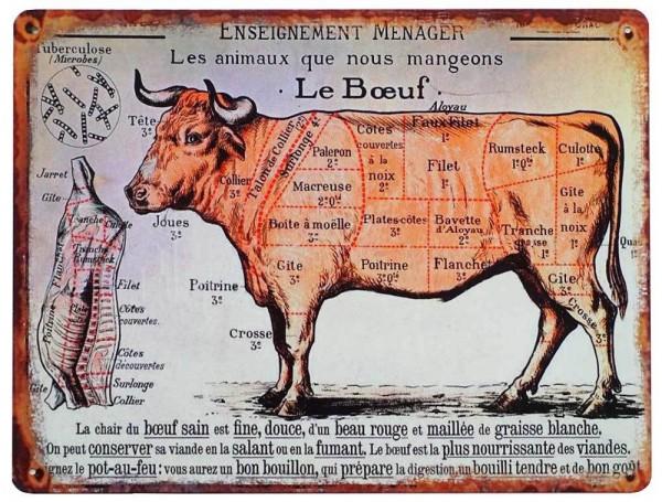 Blechschild LE BOEUF Rind Fleischsorten Vintage Küchendeko Fleischkunde 33x25cm