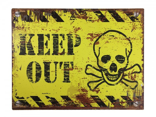 Blechschild KEEP OUT Dekoschild Vintage Warnschild Betreten Verboten 25x33cm