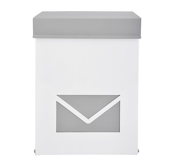 briefkasten postkasten brief umschlag abschlie bar metall grau weiss 41x31cm kaufen. Black Bedroom Furniture Sets. Home Design Ideas