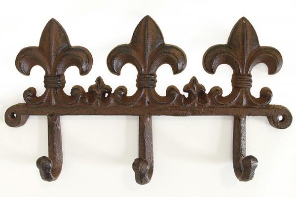 rustikale garderobe wandhaken lilie gusseisen antik braun. Black Bedroom Furniture Sets. Home Design Ideas
