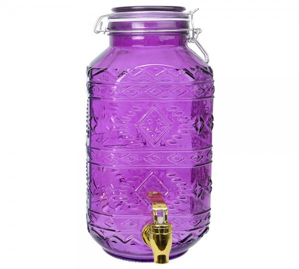 Getränkespender mit Zapfhahn Einmachglas Lila Wasserspender Vintage 4 Liter
