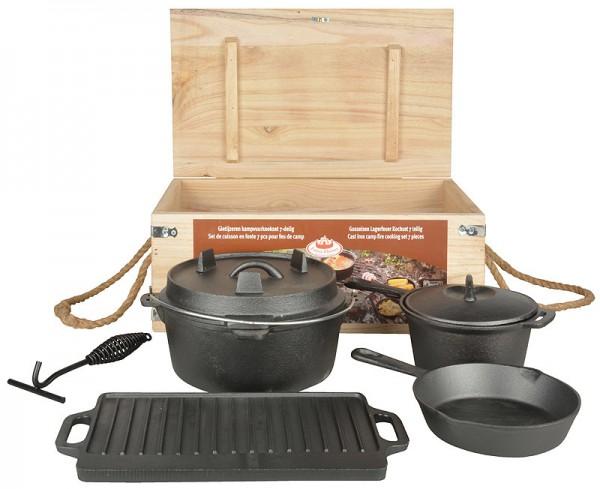 Outdoor Lagerfeuer Koch-Set Gusseisen Dutch Oven Grillplatte Pfanne Topf 7-te... | Garten > Grill und Zubehör > Gartenkamine | Esschert Design