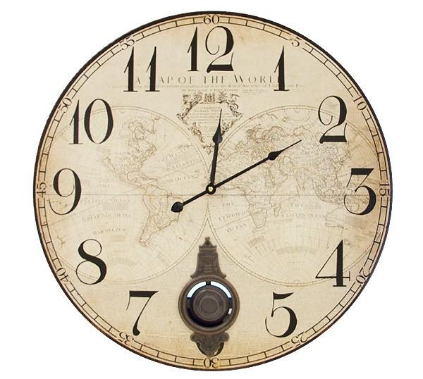 Große Wanduhr Mit Pendel Atlas Weltkarte Pendeluhr Antik