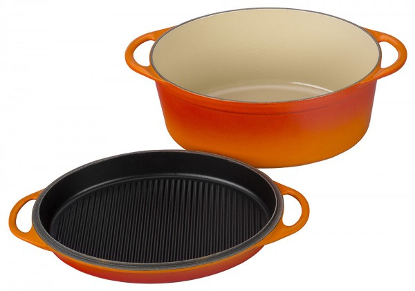 le creuset br ter mit grilldeckel oval guss ofenrot 32cm. Black Bedroom Furniture Sets. Home Design Ideas