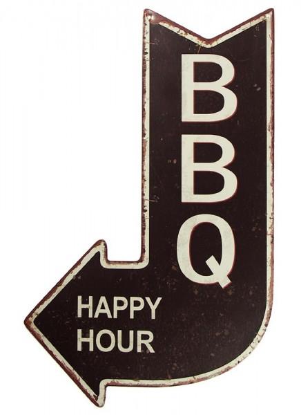 Nostalgie Blechschild BBQ Happy Hour Grill Wegweiser Pfeil Vintage 40x25cm