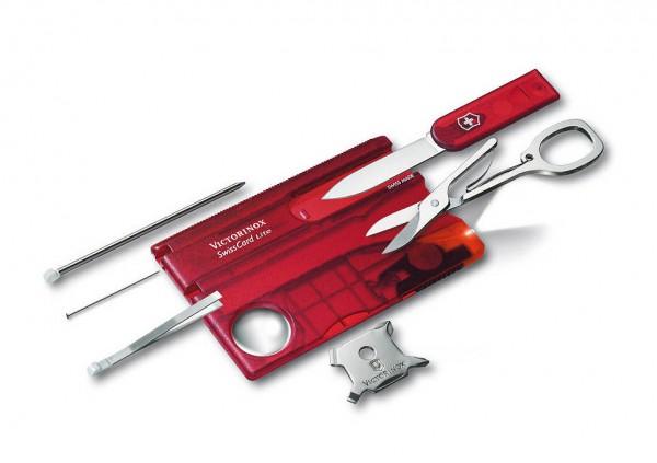 Victorinox SwissCard Lite Rot Transparent Schweizer Nagelset - mit LED-Licht ...