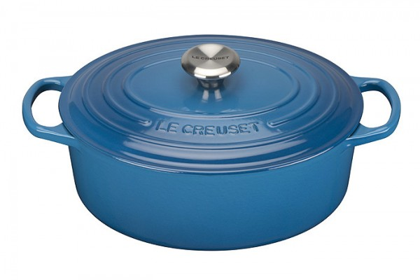 le creuset br ter signature oval guss marseille blau 35cm kaufen. Black Bedroom Furniture Sets. Home Design Ideas