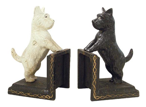 Buchst tze 2er set black white hunde optik gusseisen for Wohnen deko shop