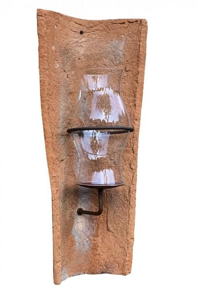 Echt Antiker Dachziegel Wandkerzenhalter mit Glas Windlicht