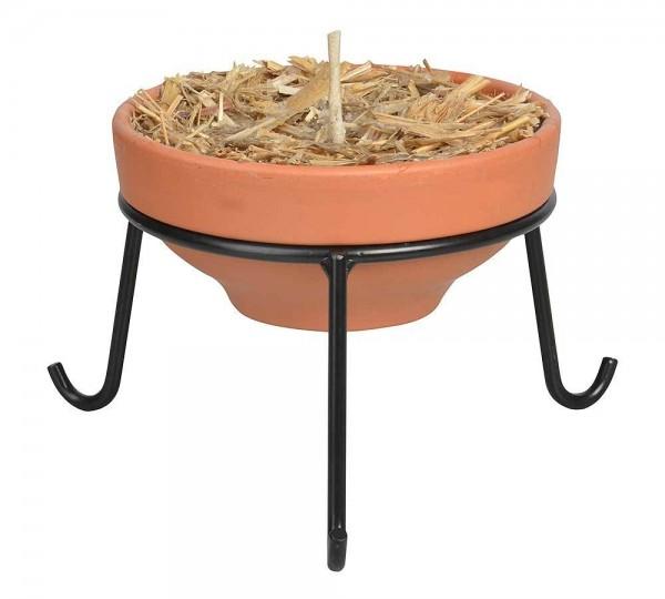 Feuerschale Wachs Stroh Terracotta Gartenfackel + Ständer Metall schwarz