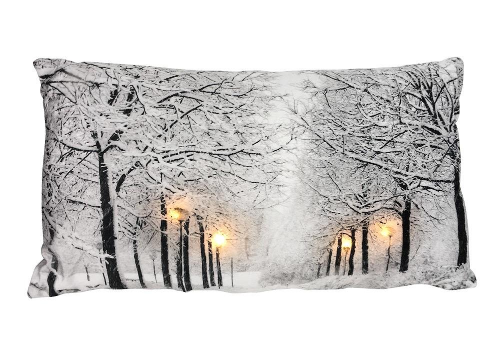 Led kissen winterlandschaft beleuchtung dekokissen - Winterlandschaft deko ...