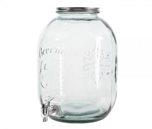 Getränkespender Groß Glas mit Zapfhahn 13,5 Liter Wasserspender Saftspender XL