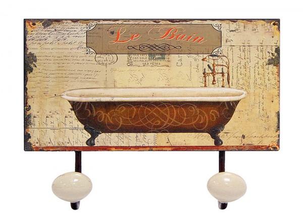 handtuchhalter le bain wandgarderobe vintage mit 2 garderobenhaken kaufen. Black Bedroom Furniture Sets. Home Design Ideas