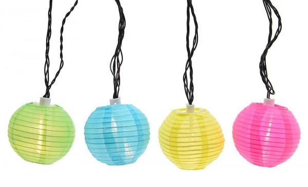 LED Lichterkette Lampions Bunt Partybeleuchtung für Innen und Außen 20 LED 9,5m
