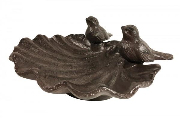 Vogeltränke Vogelbad Muschel 2 Vögel Gusseisen Braun Antik-Stil