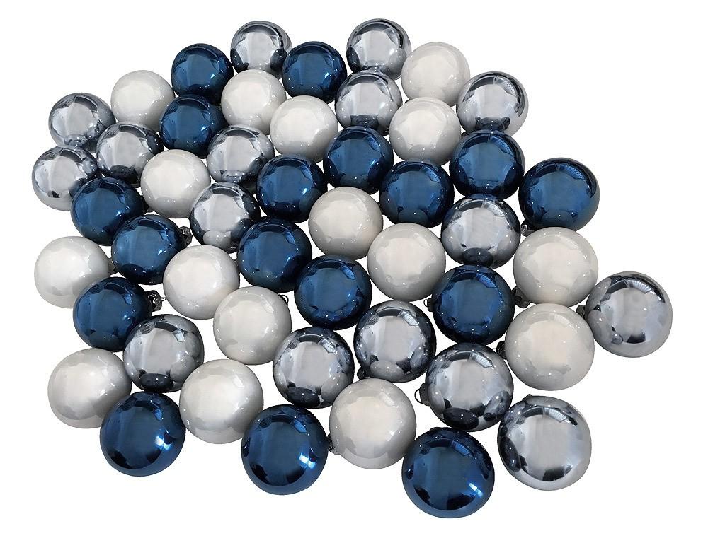 Weihnachtskugeln Blau.Christbaumkugeln Blau Silber Weiß 49 Stück Echt Glas