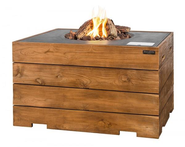 Happy Cocooning Lounge & Dining Feuertisch TEAK-Holz grau 1070 x 800 x 675 mm