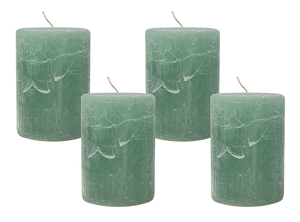 4 Rustic Stumpenkerzen Premium Kerze Mintgrün 7x10cm - 45
