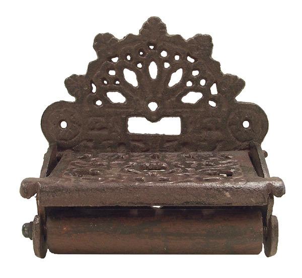 toilettenpapierhalter nostalgie gusseisen rustikal antik stil braun wc zubeh r bad wohnen. Black Bedroom Furniture Sets. Home Design Ideas