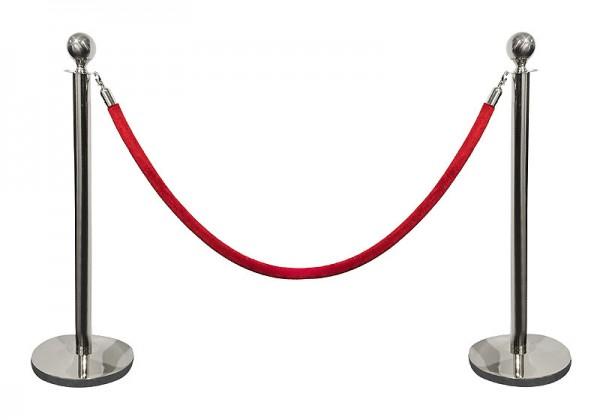 vip absperrung 2 absperrpfosten farbe silber mit 1 kordel roter teppich etc kaufen. Black Bedroom Furniture Sets. Home Design Ideas