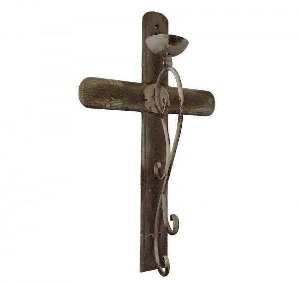 wandkerzenhalter auf kreuz antik stil mittelalter kruzifix halloween 70cm kaufen. Black Bedroom Furniture Sets. Home Design Ideas
