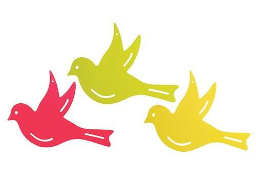 Gartendeko Sonnenfänger Vogel Gartenhänger fluoreszierend 3-teilig