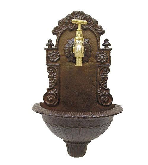 Wandbrunnen Nostalgie Waschbecken Antik-Stil Gusseisen Braun