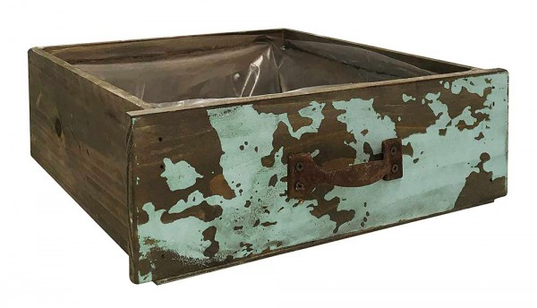 Schublade zum Bepflanzen Vintage Pflanzschublade Holz Petrol Pflanztopf 24x22cm