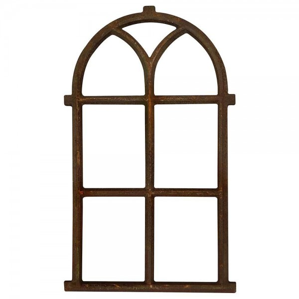 Stallfenster groß Rundbogen Eisen Rost Nostalgie Fensterrahmen Antik-Stil 100cm