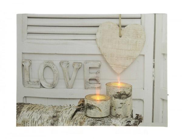 LED Bild Love Liebe Wandbild mit Beleuchtung Kerzen Dekobild beleuchtet