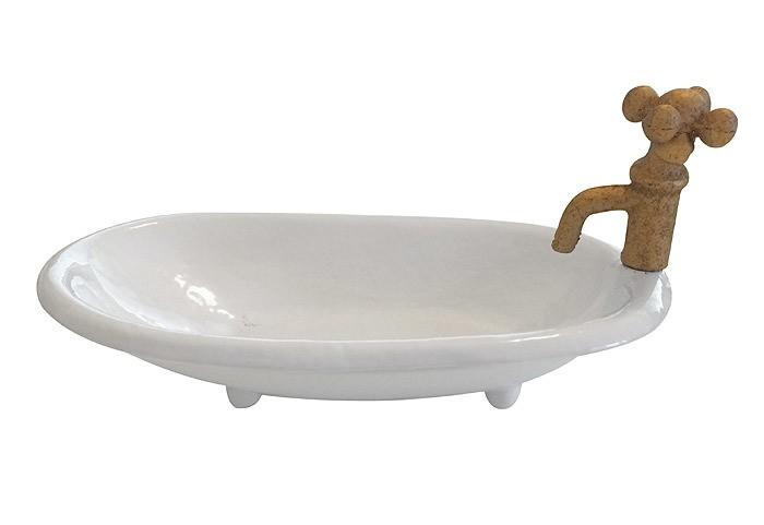 Originelle Seifenschale Badewanne Seifenhalter Keramik Weiss