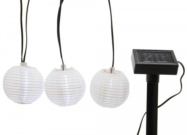 LED Solar Lichterkette 10 Lampions Laternen Garten Party Weiß