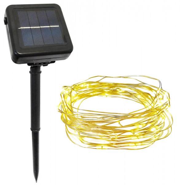 Solar Lichterkette Micro LED Draht warmweiß Außenbereich 2 Modi wählbar 50 LEDs
