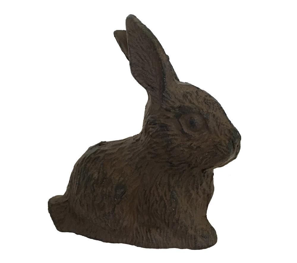 Dekofigur Hase Osterhase Kaninchen Gusseisen Antik-Braun 12cm