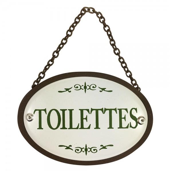 Türschild TOILETTES Oval Kette Metall Vintage Braun Weiß Nostalgie Toilettens...