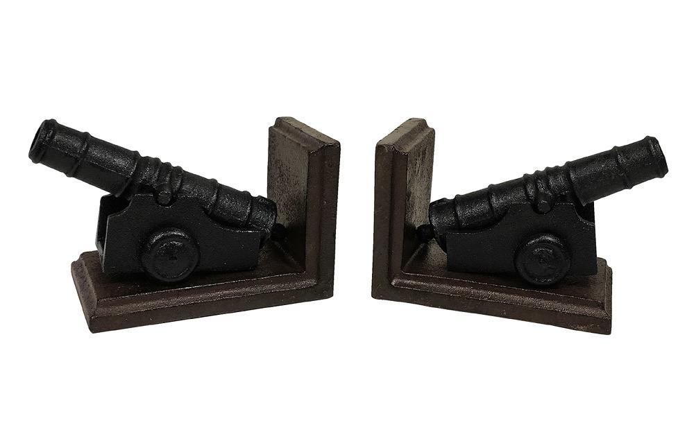Buchstützen Kanone 2 Stück Buchständer Gusseisen Set Kolonialstil Antik-Stil